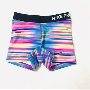 "Nike pro 3"" rainbow compression shorts"